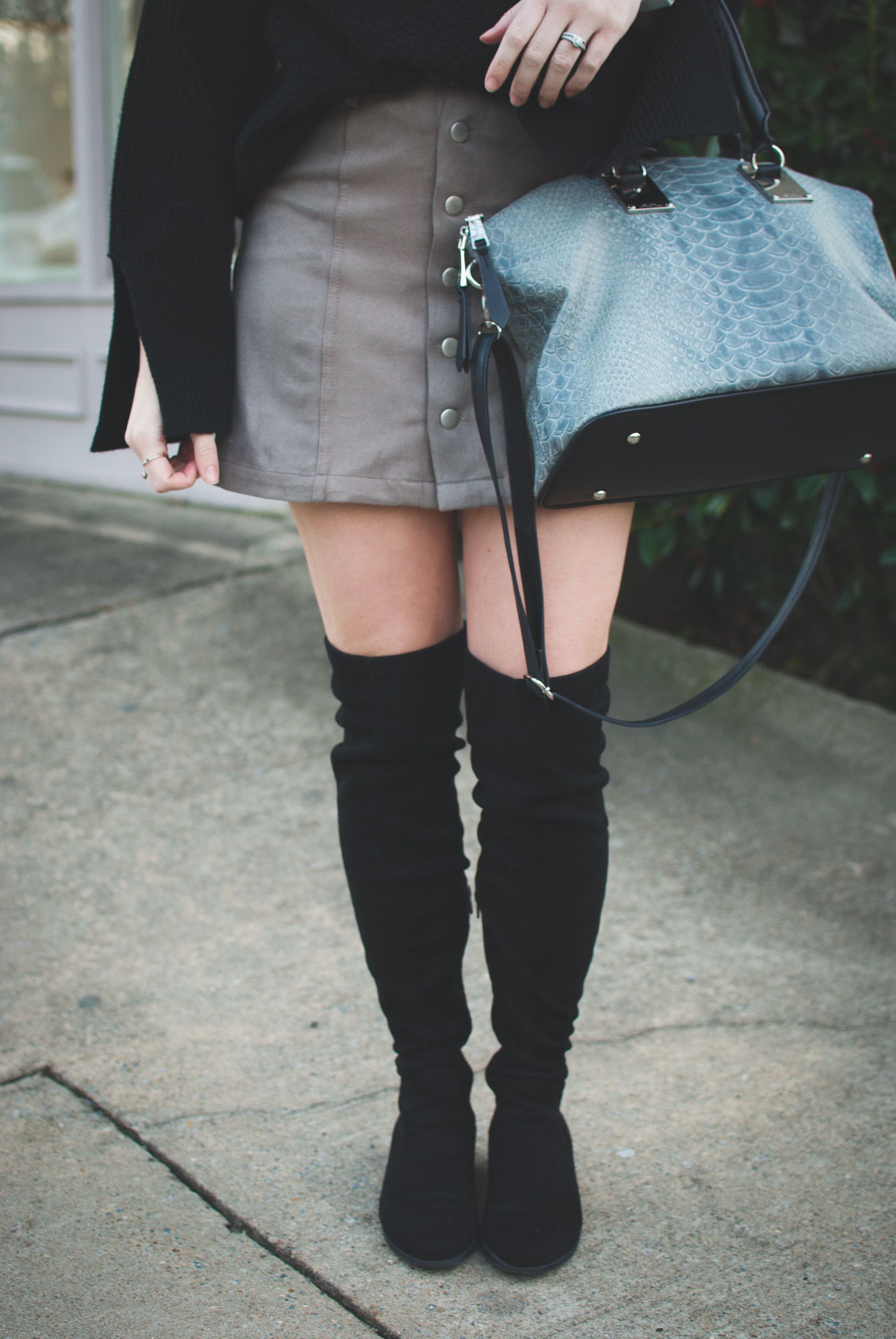 over the knee boots & bag