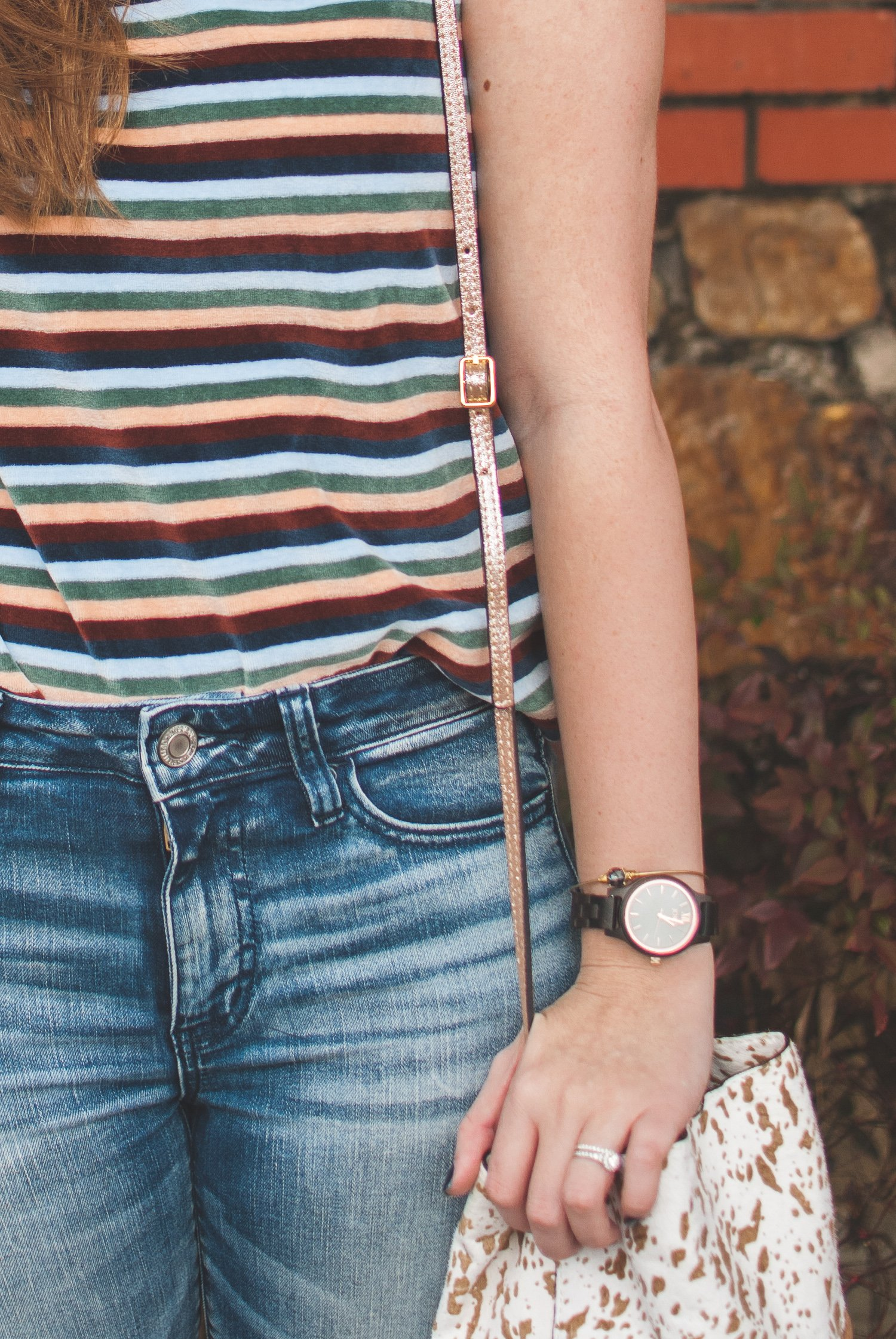Velour Madewell top and JORD wooden watch