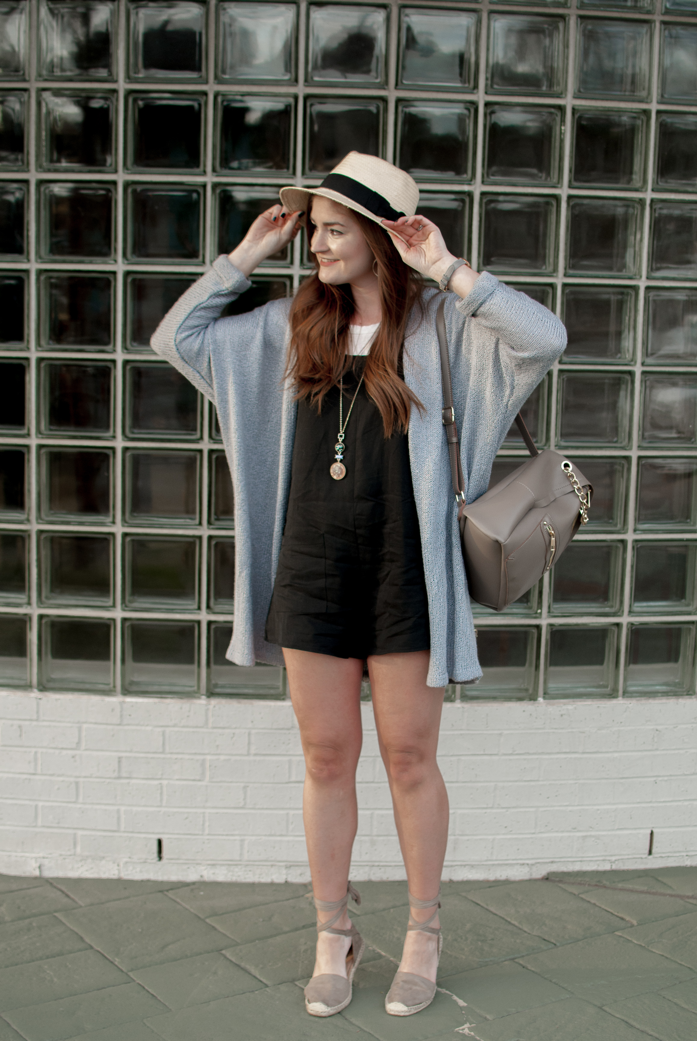 Oversized Cardigan, Black Romper, and Espadrilles