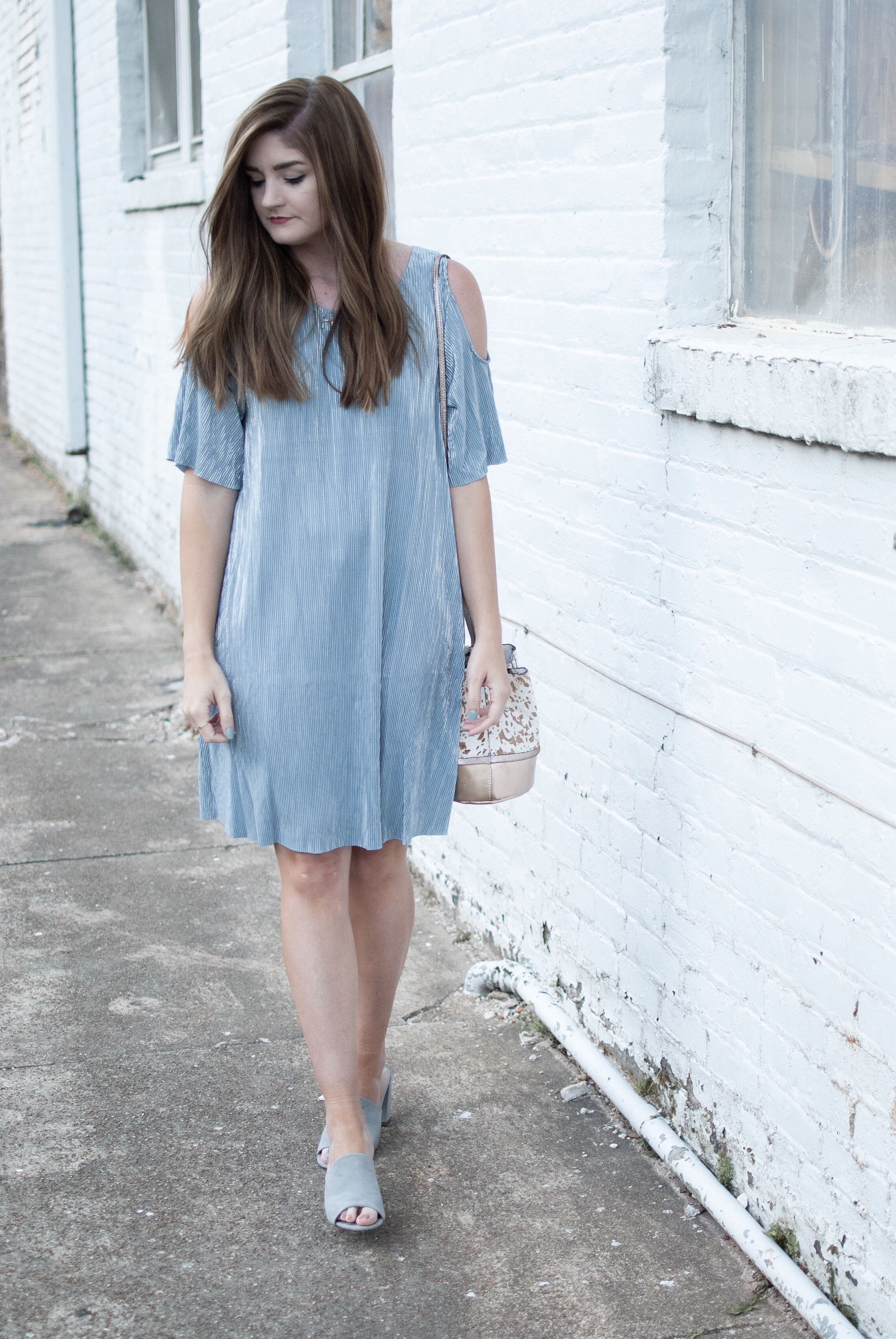 Misty metallic blue dress