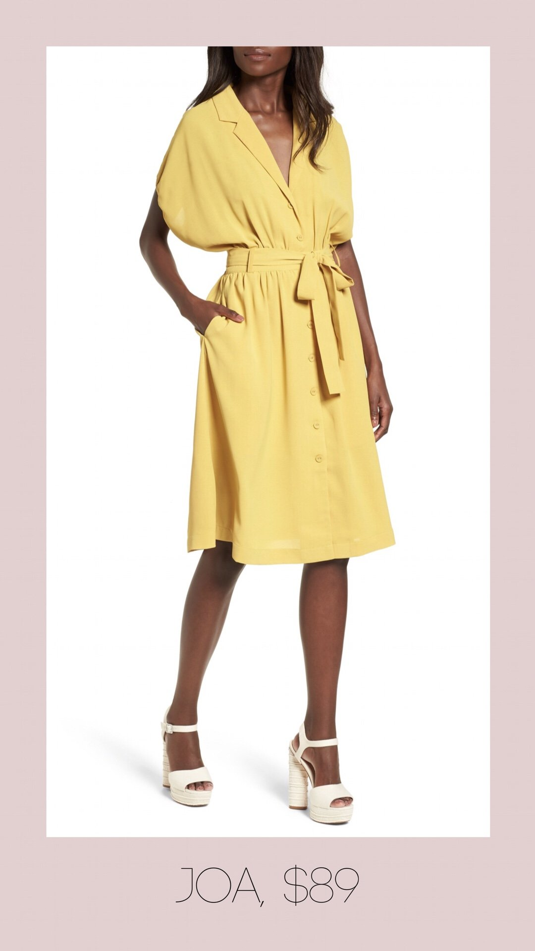 JOA button front yellow dress