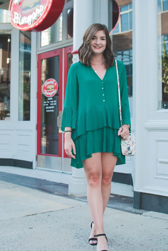 green pleated dress from Zara
