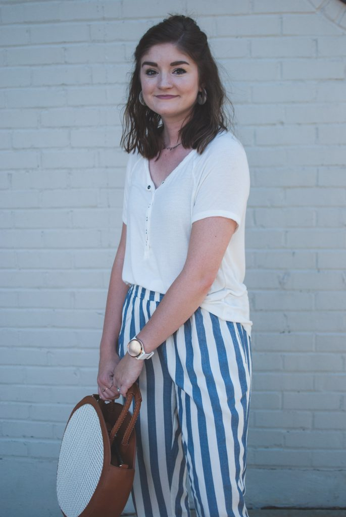 striped joggers and henley tee
