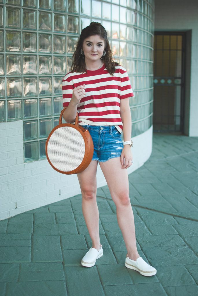 striped red tee and denim shorts