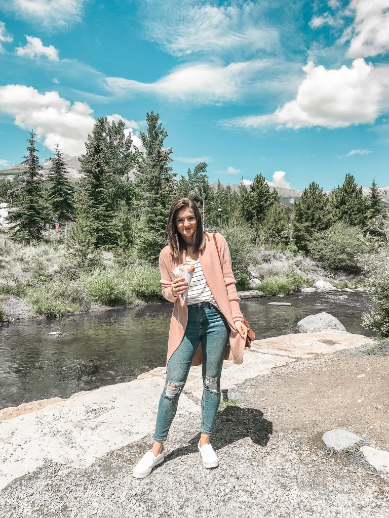 Vacation Instagram Roundup cardigan and striped tee outfit