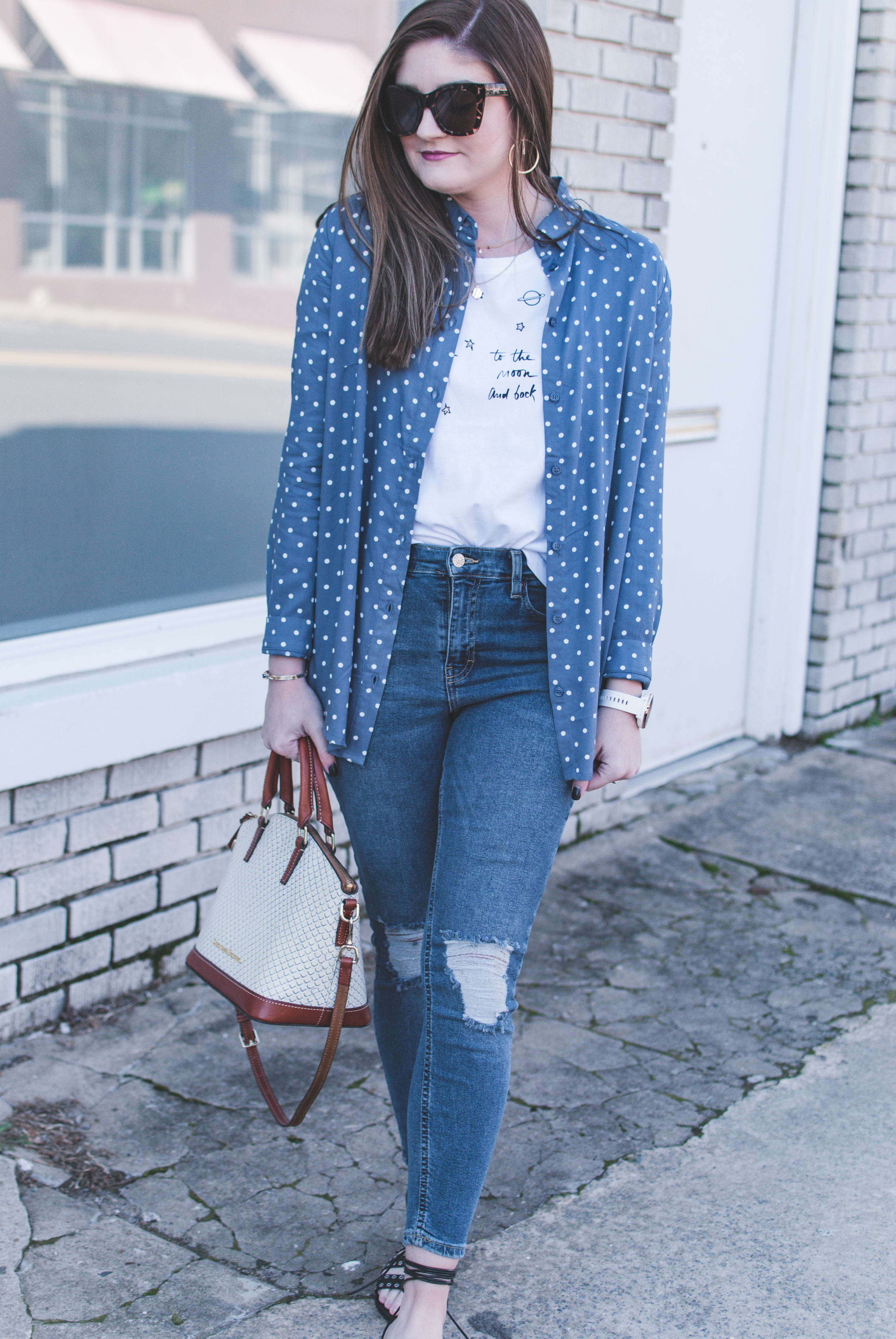 Polka dot button down and graphic tee