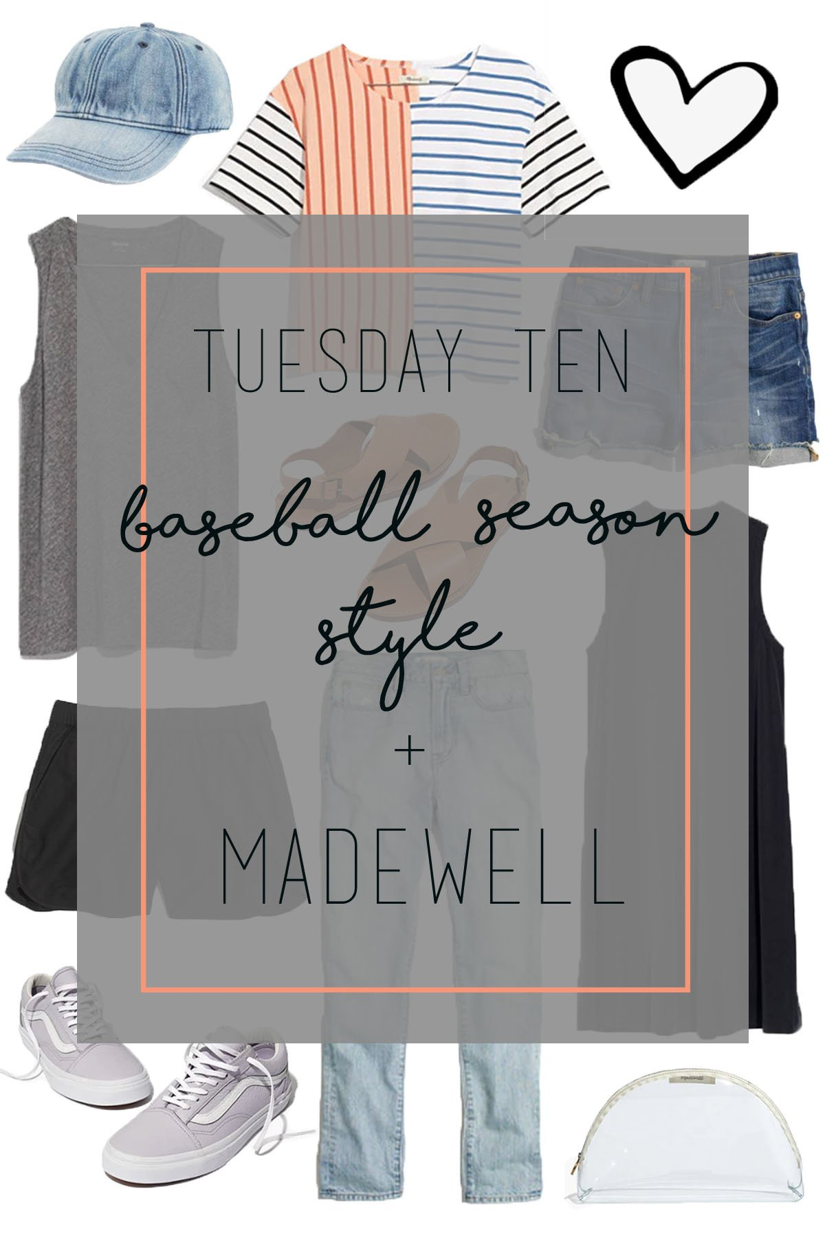 baseball season style including spring tees, dresses, and shoes