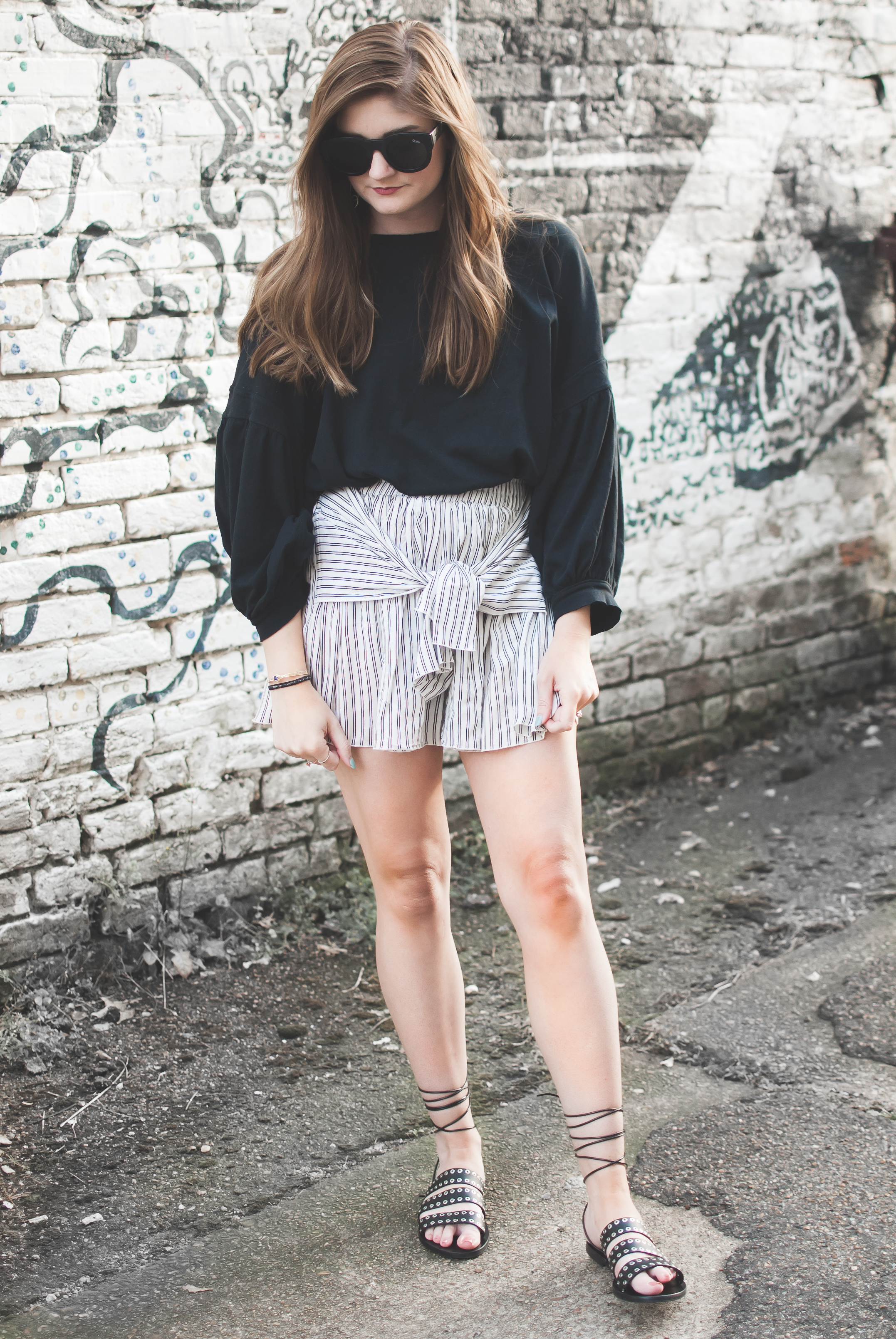 Free People tee and striped tie front shorts
