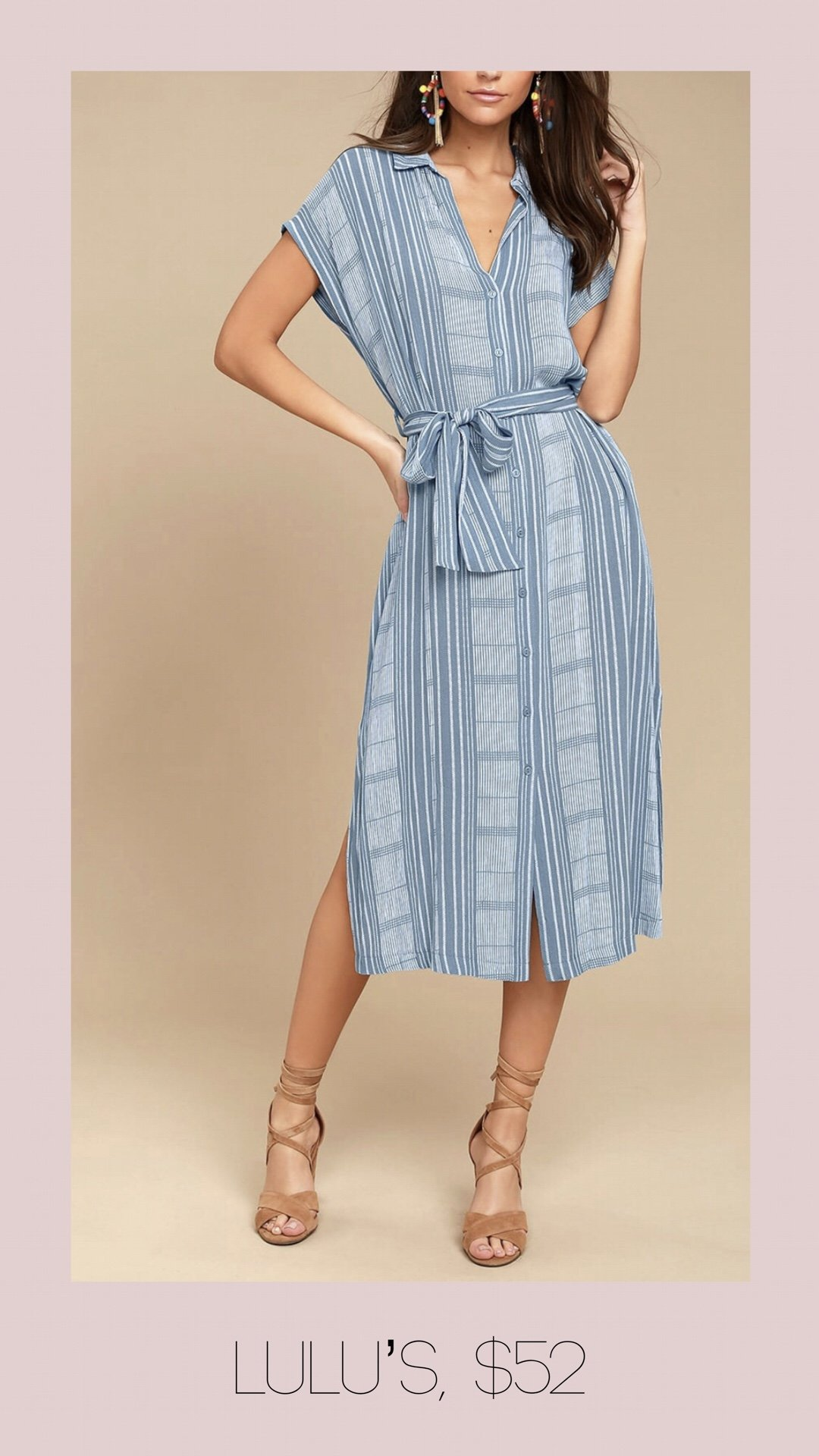 Lulu's plaid button front midi dress