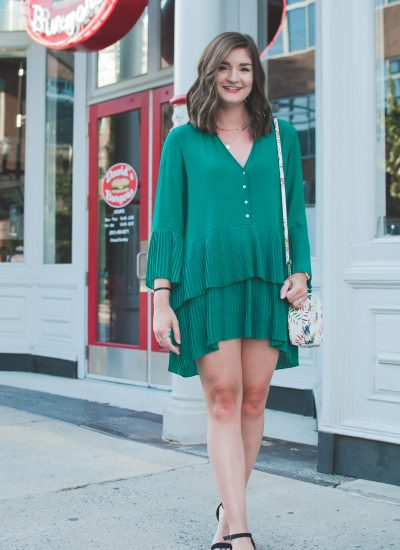 green pleated dress from Zara