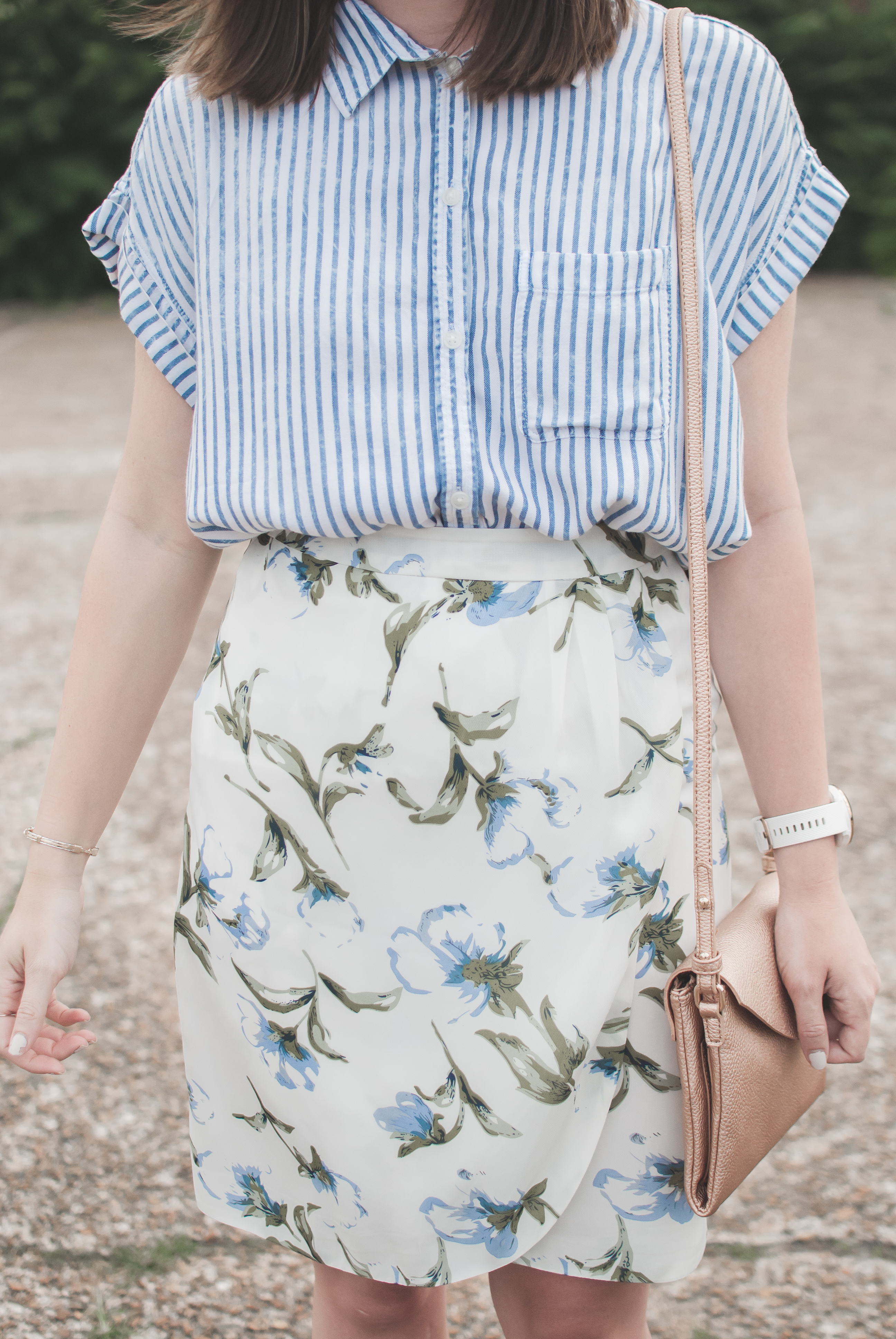 striped top and floral skirt