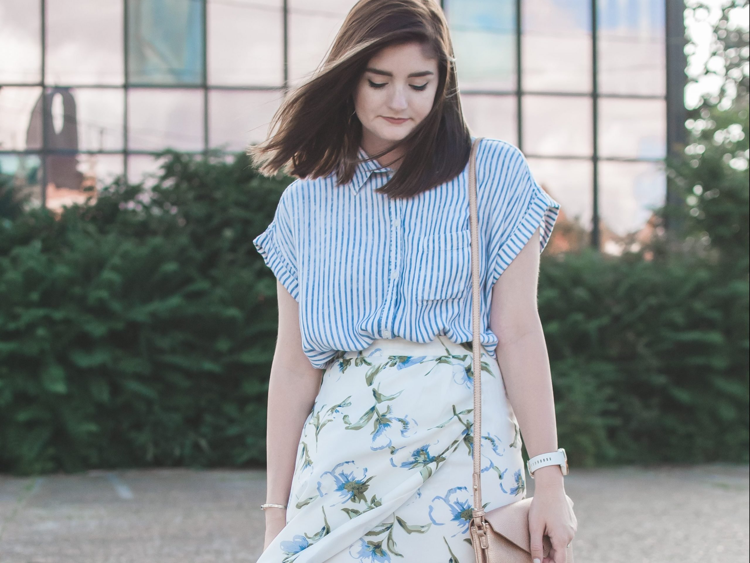 striped button down and floral skirt; what to wear this wedding season