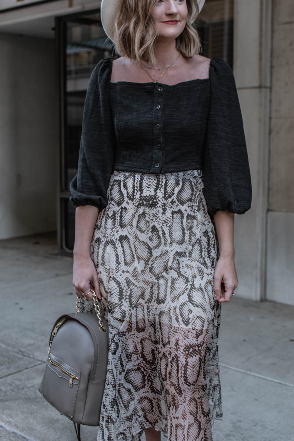 Holiday Shopping Tips + Wearing wearNYLA cropped top with snakeskin midi skirt