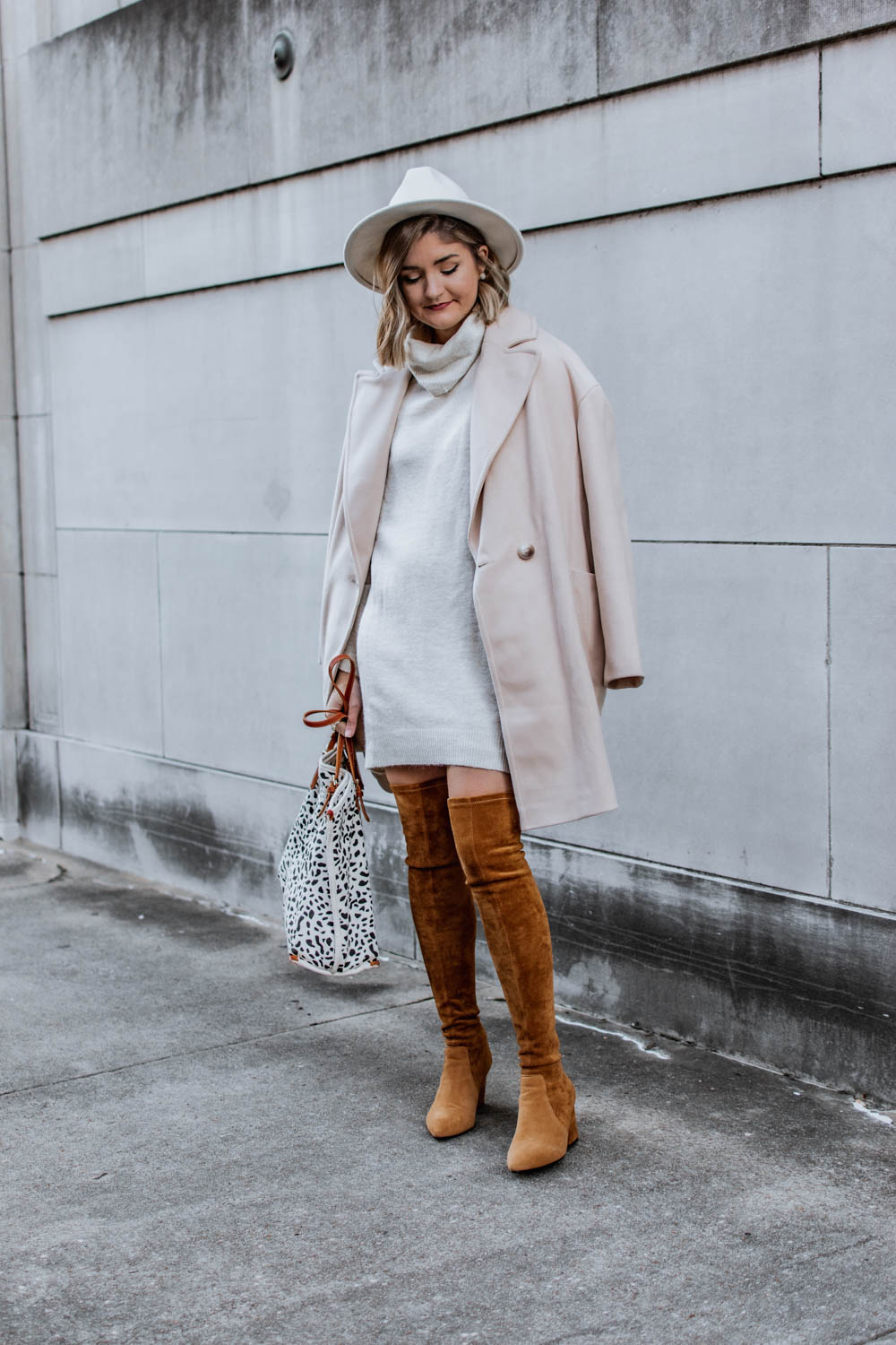 3 ways to wear a sweater dress this winter. Paired with over the knee boots and a long coat.