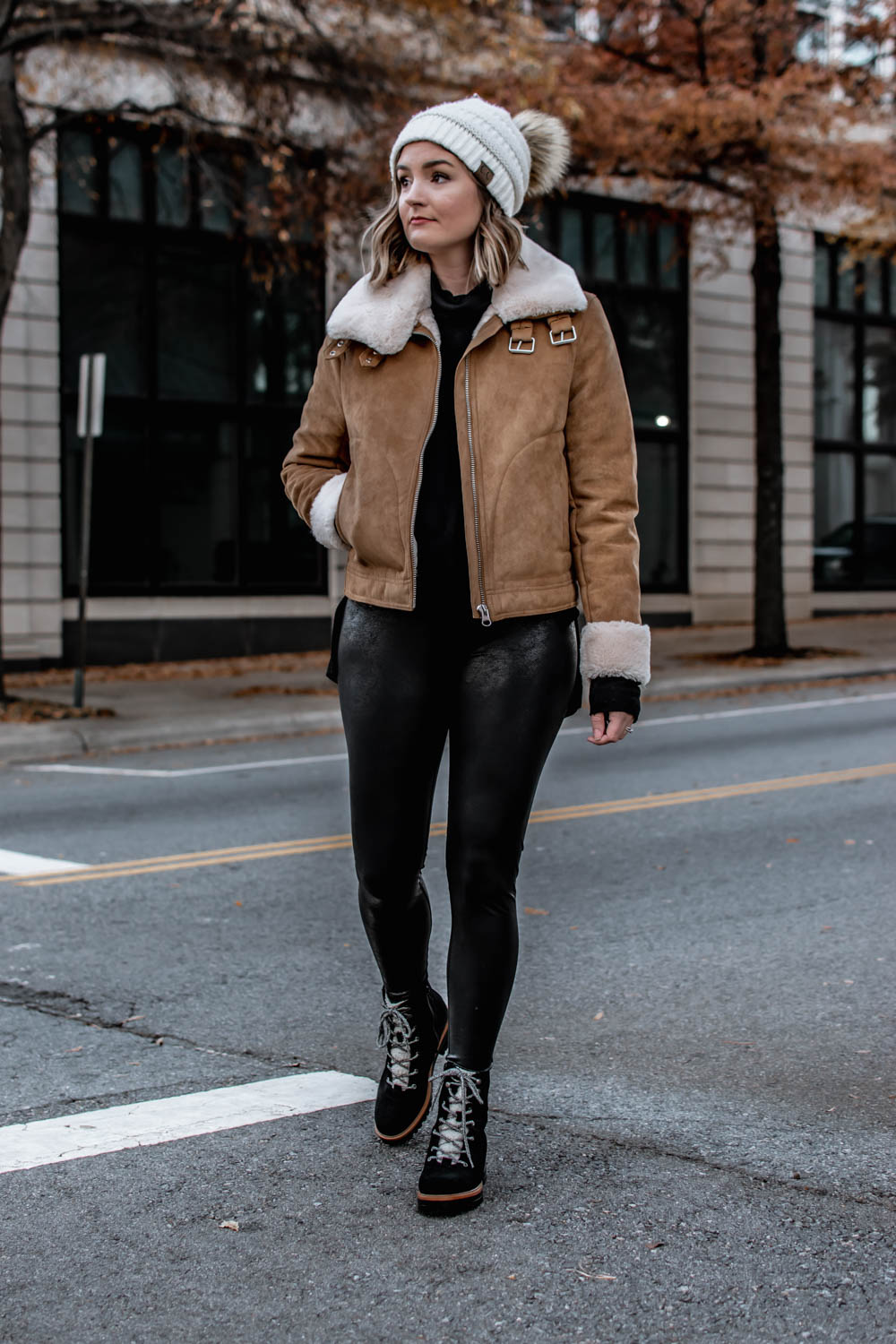 Suede Moto Jacket with Faux Leather Leggings Outfit