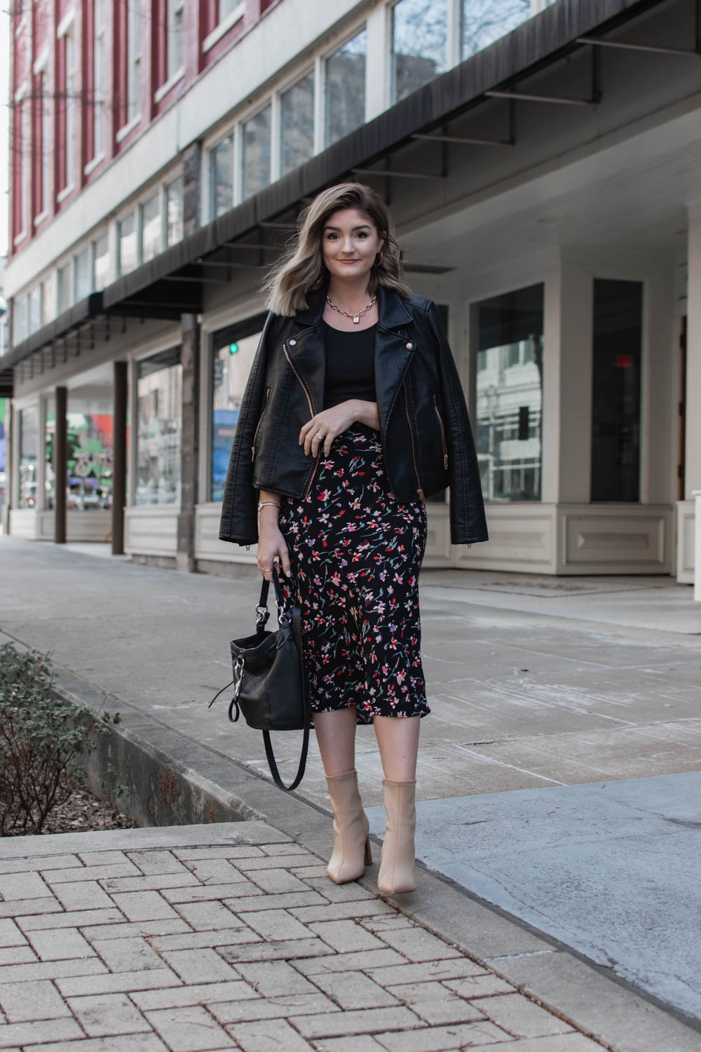 1 floral skirt styled to create 3 transitional spring outfits.