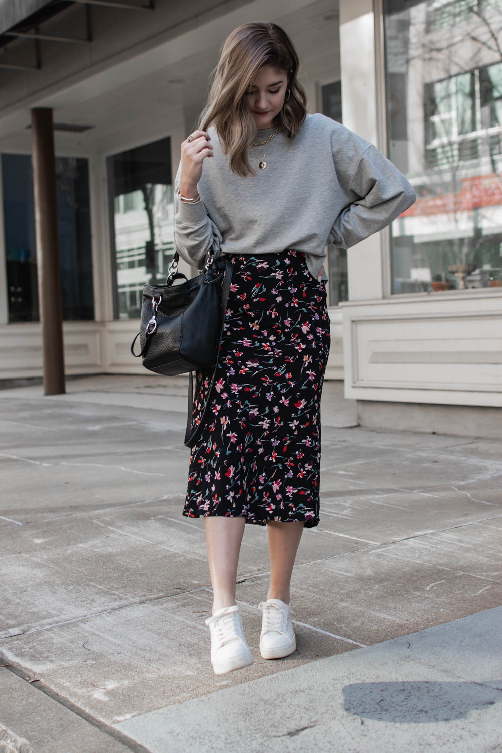 1 skirt styled to create 3 transitional spring outfits
